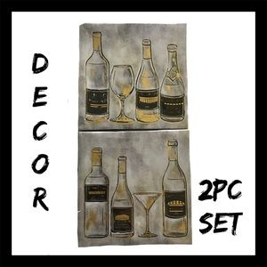 Other - 2Pc Wine Bottle Canvas Wall Art Set NIB
